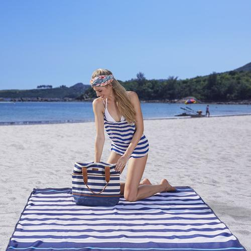 Sandlite Sand Free Mat - (L 6.6 ' X 6.6 ')- Navy Stripe