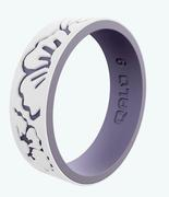 Women's Strata White and Lilac Hibiscus Silicone Ring