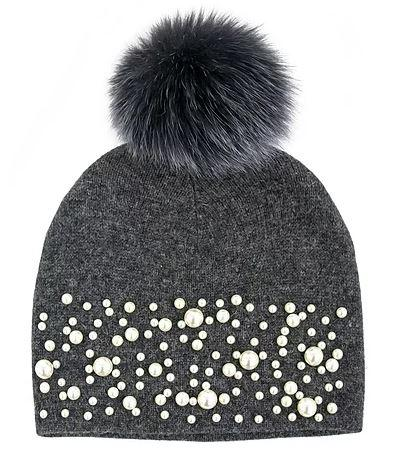 Women's Pearl Knitted Hat With Fox Pom