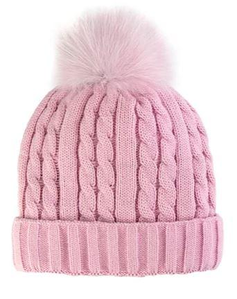 Women's Cable Knit Beanie With Fox Pom