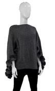 Women's Knitted Wool Capelet with Fox Trim
