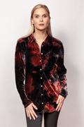 Women's Crinkle Velvet Button Down Shirt