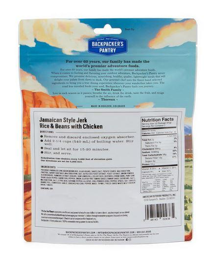 Backpacker's Pantry Jamaican Style Jerk Rice and Beans with Chicken - 2 Servings